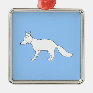 Fox blanco ornamento para arbol de navidad