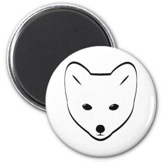 Fox blanco lindo imán redondo 5 cm