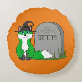 Fox blanco y verde con la piedra del sepulcro del cojín redondo