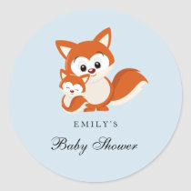 Fox Blue Boy Baby Shower Favor Seal Sticker