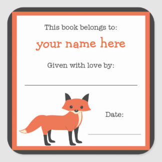 Fox book plate - Forest Animals library bookplate Square Stickers