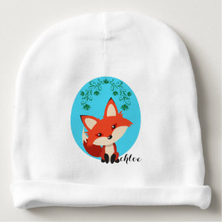 Fox caprichoso del bebé y remolinos florales gorrito para bebe