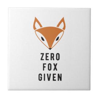 Fox cero dado azulejo cuadrado pequeño