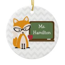 Fox Chevron Teacher At Chalkboard Ceramic Ornament