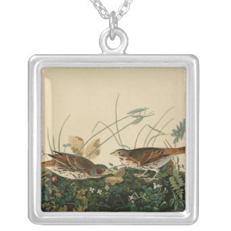 Fox colored sparrow square pendant necklace
