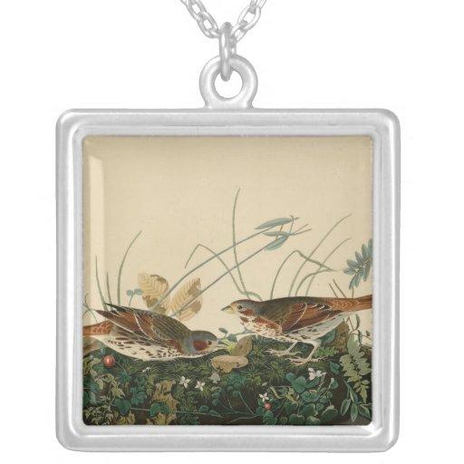 Fox colored sparrow square pendant necklace