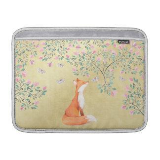 Fox con las mariposas y las flores rosadas funda macbook air