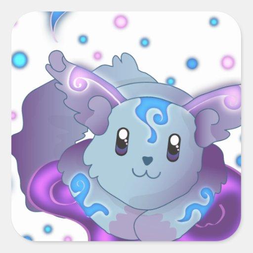 Fox congelado Kawaii azul lindo de la llama Pegatina Cuadrada