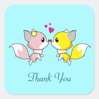 Fox Couple Kissing Thank You Square Sticker