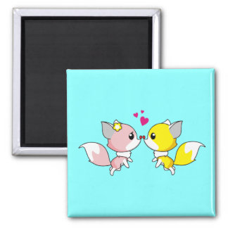 Fox Couple Kissing with Little Hearts Overhead Magnet