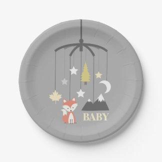 Fox Crib Mobile Modern Neutral Baby Shower Paper Plate