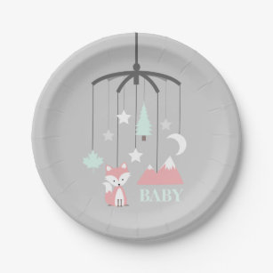 Fox Crib Mobile Modern Pink Baby Shower Paper Plate & Trendy Baby Shower Plates   Zazzle