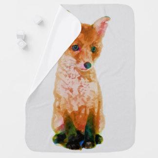 Fox Cub Baby Fox Watercolor Nursery Print Stroller Blanket