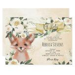 Fox cub floral neutral baby shower invitation