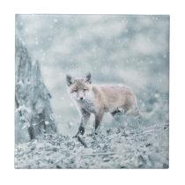 Fox Cub in the Snow Tile