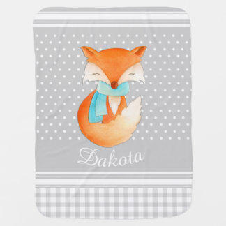 Fox cub with scarf art name grey baby blanket