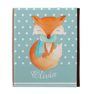 Fox cub with scarf named teal kids ipad folio case