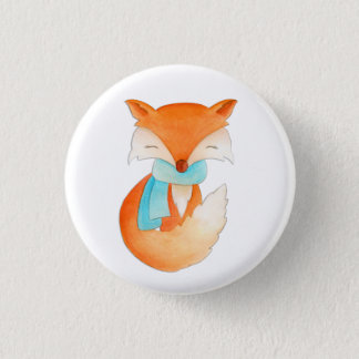 Fox cub wrapped up for winter button pin