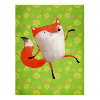 Fox de baile feliz postal