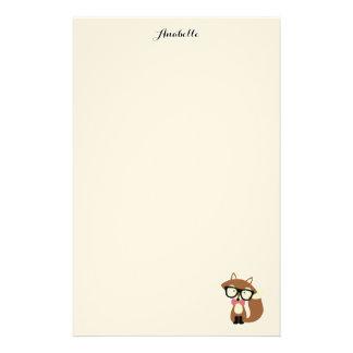 Fox de Brown del inconformista de la pajarita y de Personalized Stationery