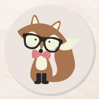 Fox de Brown del inconformista de la pajarita y de Posavasos De Cartón Redondo