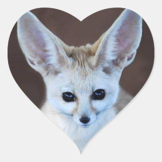 Fox de Fennec Pegatina En Forma De Corazón