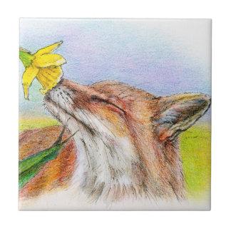 Fox de Fred Azulejo Cuadrado Pequeño
