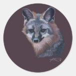 Fox de la montaña del arte del animal salvaje de etiquetas redondas