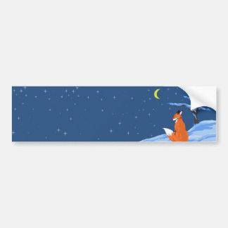 Fox de la noche del invierno pegatina de parachoque