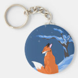 Fox de la noche del invierno llaveros