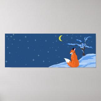 Fox de la noche del invierno poster