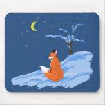 Fox de la noche del invierno tapetes de raton