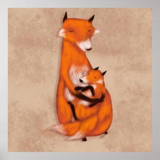 Fox de Momma y bebé Póster