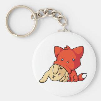Fox de SCHLUP que come el conejo Llavero Redondo Tipo Pin
