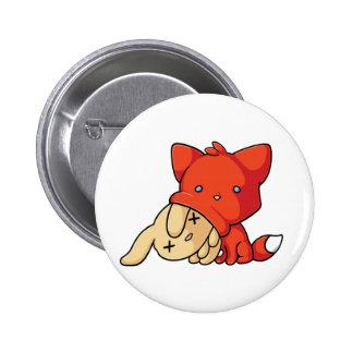 Fox de SCHLUP que come el conejo Pin Redondo 5 Cm