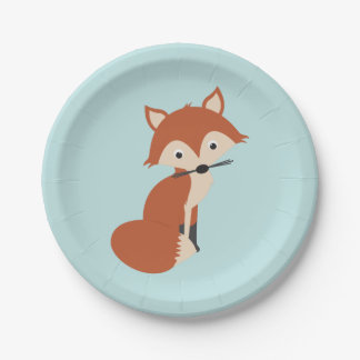 Fox del arbolado plato de papel de 7 pulgadas