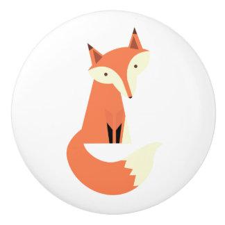 Fox del arbolado pomo de cerámica
