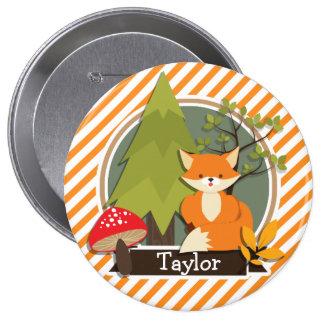 Fox del arbolado; Rayas anaranjadas y blancas Pin Redondo De 4 Pulgadas