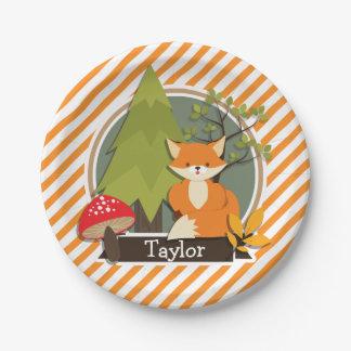 Fox del arbolado; Rayas anaranjadas y blancas Plato De Papel 17,78 Cm
