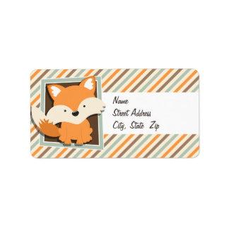 Fox del arbolado; Verde salvia, naranja, rayas de Etiquetas De Dirección