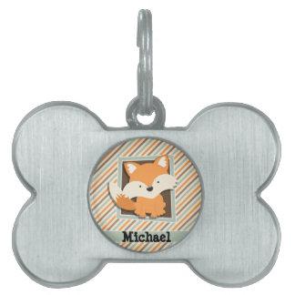 Fox del arbolado; Verde salvia, naranja, rayas de Placas De Nombre De Mascota