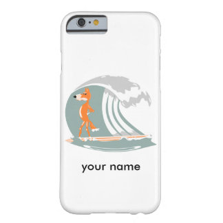 Fox del dibujo animado en una tabla hawaiana funda para iPhone 6 barely there