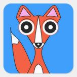 Fox del dibujo animado pegatina cuadrada