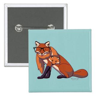 Fox del inconformista (sin texto) pin cuadrada 5 cm