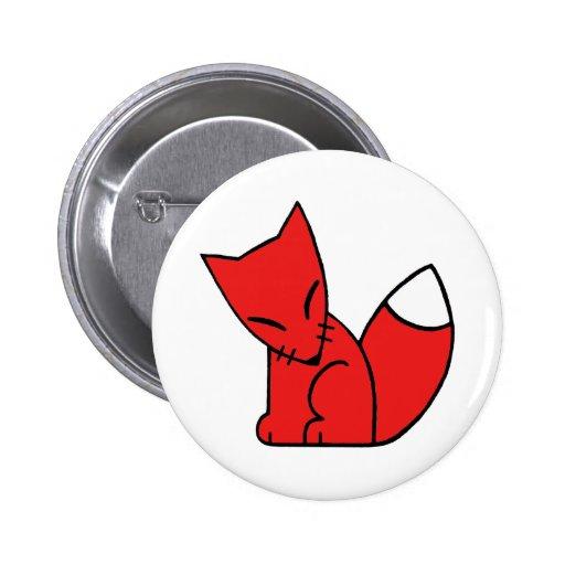 Fox del logotipo (rojo) pin redondo de 2 pulgadas