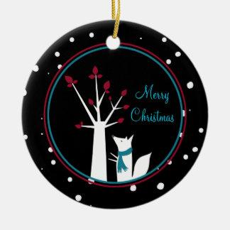 Fox del navidad y árbol de nuestra casa el suyo adorno navideño redondo de cerámica