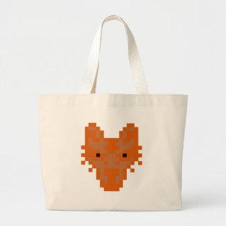 Fox del pixel bolsa tela grande