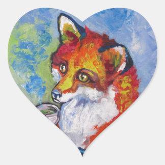 Fox del té calcomania corazon