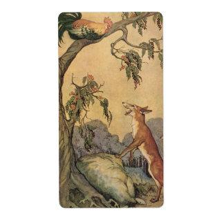 Fox del vintage, el gallo y la fábula de Esopo del Etiquetas De Envío