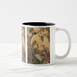 Fox del vintage, el gallo y la fábula de Esopo del Tazas De Café
